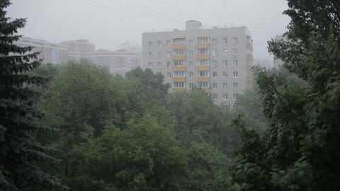 Heavy Rain. High Angle View From Window 3 stock footage