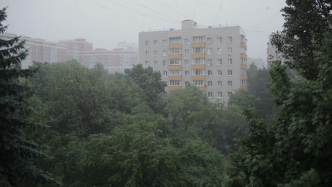 Heavy rain. High angle view from window 3 Stock Video Footage