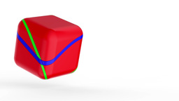 Red cube on white Stock Video Footage