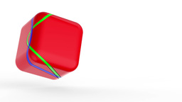 Red cube on white Animation
