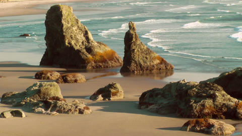Sea stacks on Bandon Beach Stock Video Footage