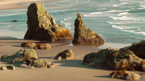 Sea Stacks On Bandon Beach stock footage