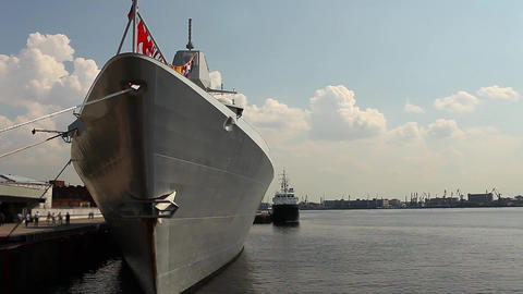 Frigate at the pier Stock Video Footage