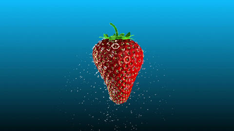 Fresh Strawberry with Splashing Water Loop Stock Video Footage
