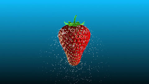 Fresh Strawberry with Splashing Water Loop Animation