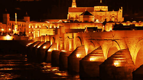 Cordoba. Roman bridge Stock Video Footage