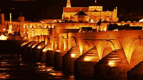 Cordoba. Roman bridge Stock Video Footage