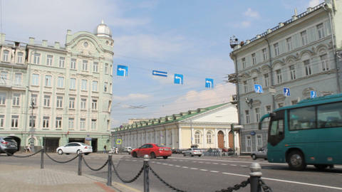 Moscow Manege View from Mokhovaya Street 2 Stock Video Footage