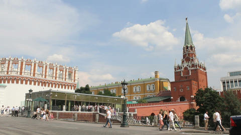 Troitskaya Tower of Moscow Kremlin Stock Video Footage