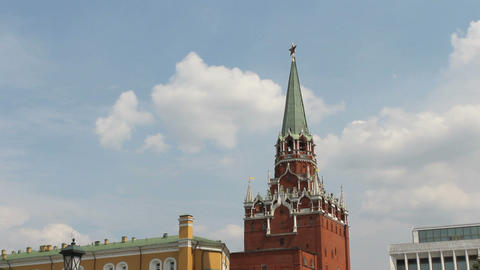 Troitskaya Tower of Moscow Kremlin Footage