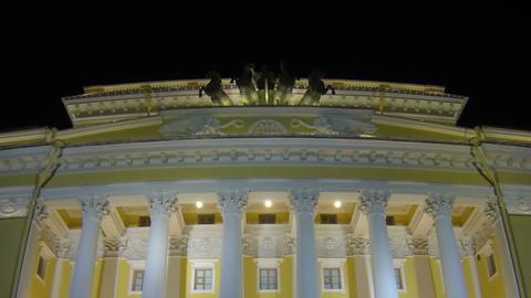 Alexandrinsky theatre in Saint-Petersburg Night Stock Video Footage