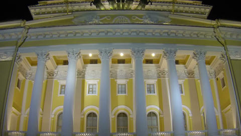 Alexandrinsky Theatre In Saint-Petersburg Night stock footage