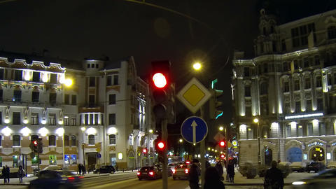 Austrian square in Petersburg Night Footage