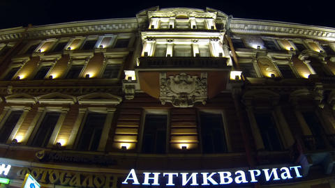 Old house on Nevsky Prospekt in St. Petersburg Nig Footage