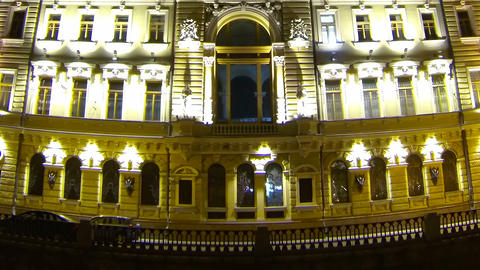 Old house on Griboedova Channel in St. Petersburg Stock Video Footage