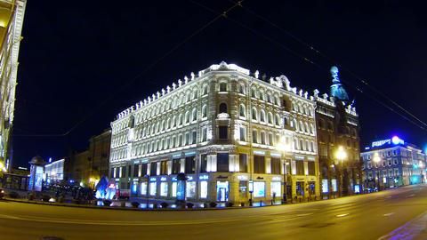 Old house on Nevsky Prospekt in St. Petersburg Nig Footage