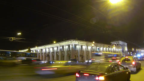 Old house on Nevsky Prospekt in St. Petersburg Nig Stock Video Footage
