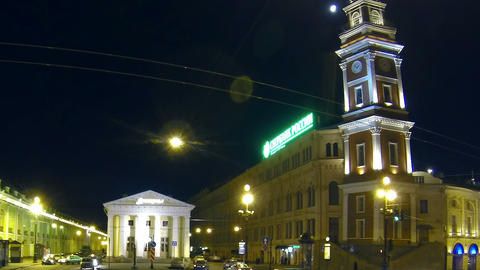 Gostiny Dvor in St. Petersburg Night Footage