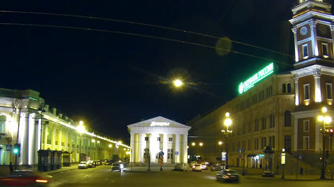 Gostiny Dvor in St. Petersburg Night Stock Video Footage