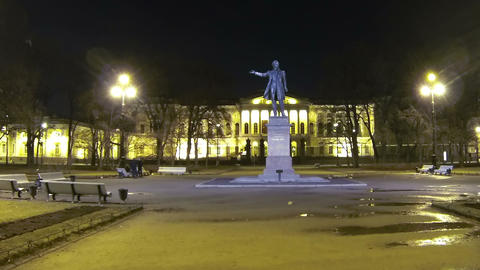 Square of Arts in St Petersburg Night Footage