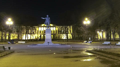 Square of Arts in St Petersburg Night Stock Video Footage