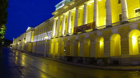 The building of Lenenergo Petersburg Night Footage