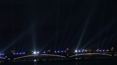 Trinity bridge in St. Petersburg Night Footage