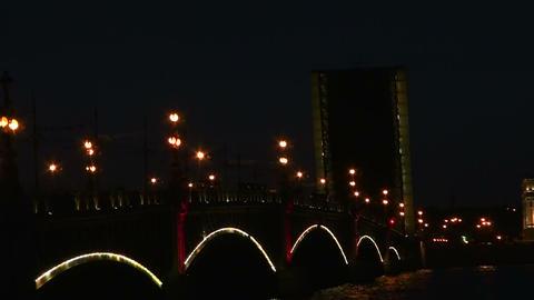 Diluted Troitsky bridge in St. Petersburg Night Footage