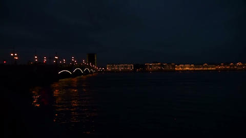 Diluted Troitsky bridge in St. Petersburg Night Footage