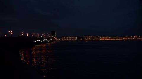 Diluted Troitsky bridge in St. Petersburg Night Stock Video Footage