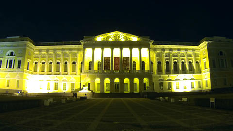 Russian Museum In St. Petersburg Night stock footage