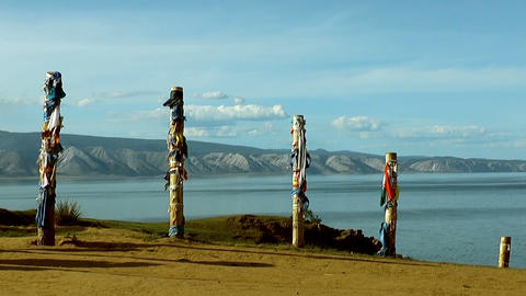 shaman poles at lake baikal Stock Video Footage