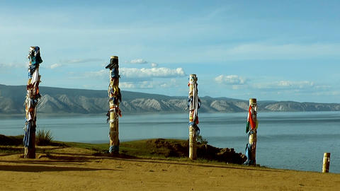 shaman poles at lake baikal Footage