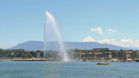 Jet d'eau in Geneva Stock Video Footage