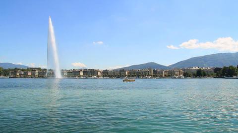 Jet d'eau in Geneva Stock Video Footage