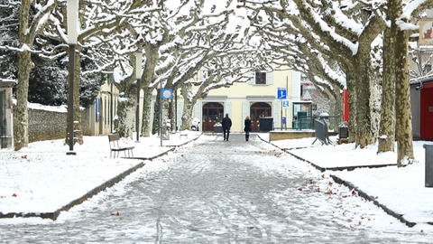 Pedestrians in snow Stock Video Footage