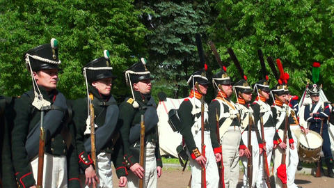 The Russian soldiers during the war with Napoleon Stock Video Footage