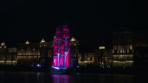 The sailing ship with the crimson sails Stock Video Footage