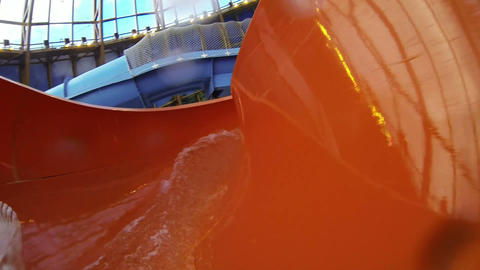 The water slide in the water Park Stock Video Footage
