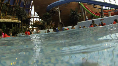 Children bathe in the water Park Stock Video Footage