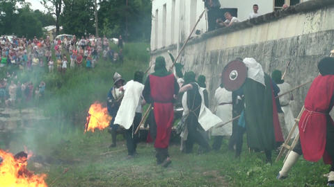 The battle for the fortress of medieval warriors Footage