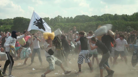 A crowd of people fighting pillows Stock Video Footage