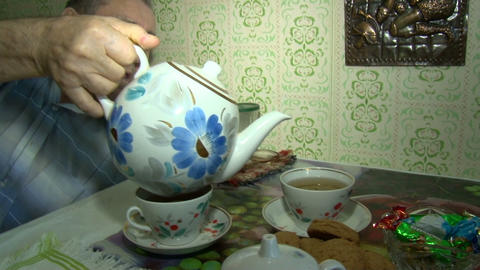 The tea is poured into a Cup Stock Video Footage