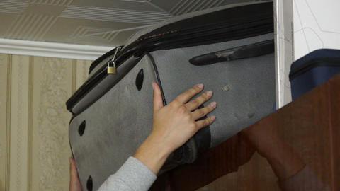 Suitcase removed from the enclosure Stock Video Footage