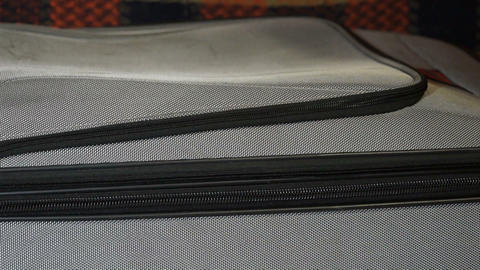 Zipper clasp on a suitcase Footage