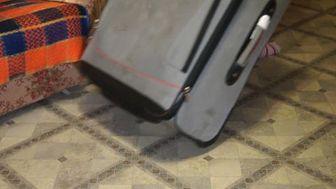 Suitcase on wheels Stock Video Footage
