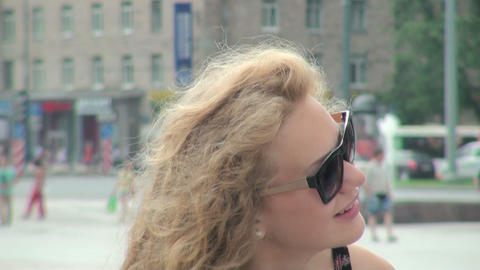 The Blonde girl in sunglasses Footage