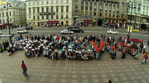 Flashmob in St. Petersburg Stock Video Footage