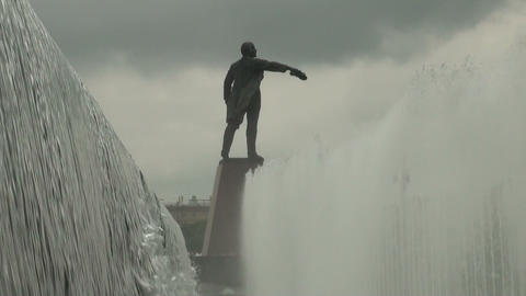 Fountain with the statue of Lenin Footage