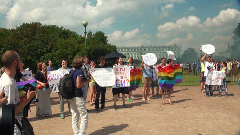 The gay parade and rally sexual minorities Stock Video Footage
